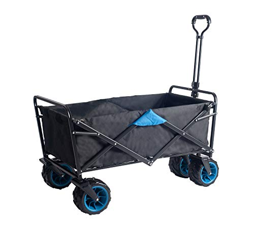Amazon Brand - Umi Carrello fuori strada trasporto carrello a mano carrello giardino pieghevole le gomme con cuscinetto adatto a tutti i terreni (Nero/Blu)
