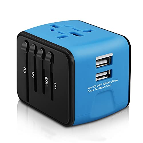 HAOZI Universal Travel Adapter, All-in-one International Power Adapter with 2.4A Dual USB, European Adapter Travel Power Adapter Wall Charger for UK, EU, AU, Asia Covers 150+Countries (Blue)