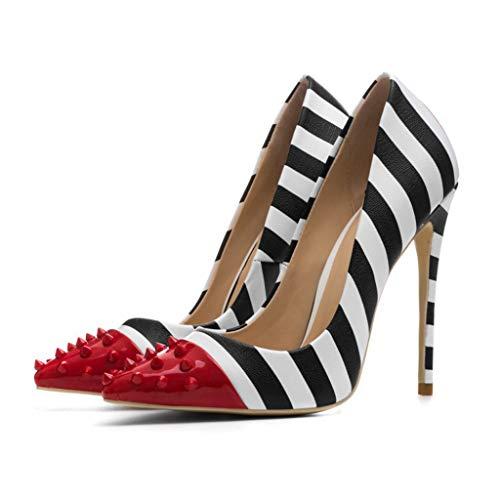 Damen High Heel Schuhe künstliche PU Spitze Sandalen fein mit gestreiften Nieten Damen Sandalen Frühjahr und Herbst neu,42EU