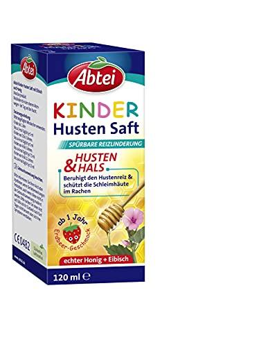Abtei Kinder Husten Saft - mit Erdbeergeschmack, Eibisch und Honig - für Kinder und Kleinkinder ab 1 Jahr - ohne Alkohol, glutenfrei, laktosefrei - 1 x 120 ml