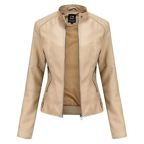 Chaqueta de Cuero Leather Jackets Motorista de PU para Mujer Chaqueta con Bolsillos con Cremallera, Chaqueta Corta para el Primavera Otoño (5 Colores)