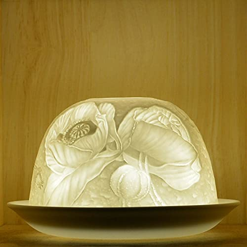 2 Piece Dome Light Tealight Candle Shade & Tray - Poppies