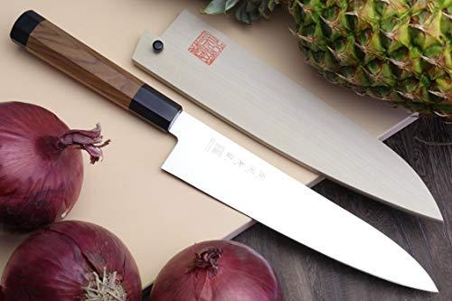 "YOSHIHIRO Ice Hardened High Carbon Stainless Steel Wa Gyuto Japanese Chef Knife 9.5"" (240mm)"