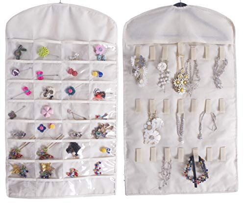 Amelitory Hanging Jewelry Organizer with 32 Pockets 21 Hook and Loops Dual Sided Accessory Foldable Storage Beige
