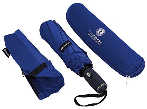 VAN BEEKEN Regenschirm sturmfest bis 140 km/h - Kleiner Leichter und kompakter Damen Herren Schirm mit Auf-Zu-Automatik - windsicherer Taschenschirm mit Tasche, Etui und Teflon-Beschichtung, Blau