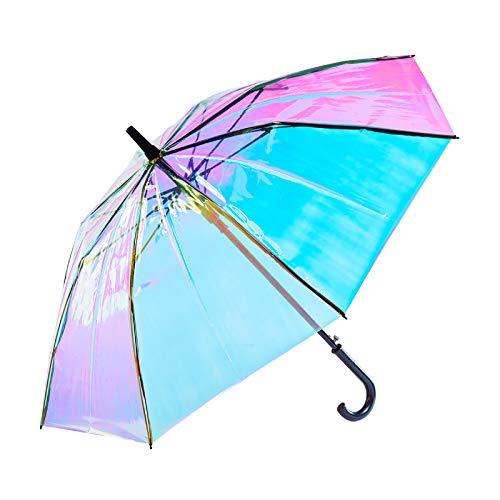 Paraguas Transparente de Colores, Paraguas Transparente de láser Engrosado, Paraguas de Arco Largo automático con Iris de Arco Iris.Color Adulto Favorito de Las niñas