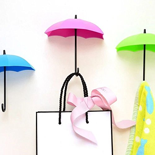 SpyShop Colorful Umbrella Key Holder, Key Hanger,Wall Key Rack,Wall Key Holder,Key Organizer for Keys, Jewelry and Other Small Items (6PCS)
