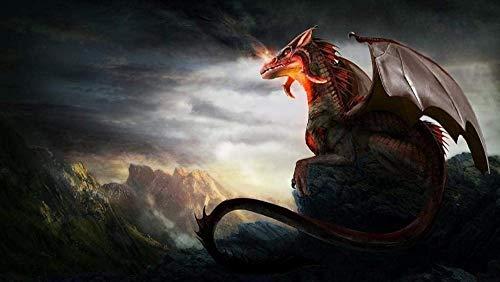 Preisvergleich Produktbild ygghj DIY Ölgemälde Malen Nach Zahlen Neuerscheinungen Neuheiten DIY Gemälde Durch Zahlen,  Malen Nach Zahlen Kits Digitales Ölgemälde Peak Red Head Dragon