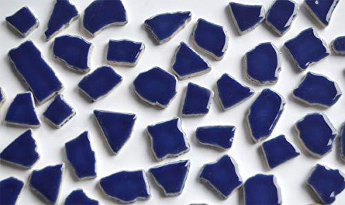 Bazare Masud e.K. 100 Gramm (ca. 45 Stück) Bruchmosaik aus Keramik glänzend 1-3cm Dunkelblau Bruchfliesen Mosaikbruch Bruchsteine (4,49 €/100 g)