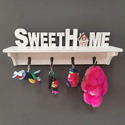 Schlüsselbrett für Wand 4 Haken Home Sweet Home Holz Schlüsselstange Hakenstange Weiß Wohnaccessoires Veranda Schlüsseldeko Schild Schlüsselhalter