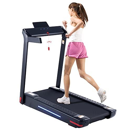 ZELUS 750W Tapis Roulant Pieghevole Elettrico 130x43cm, Treadmill a 14 km/h per Casa Ufficio Attrezzature per Esercizi Cardio con Sensore di Frequenza Cardiaca, App e Assorbimento degli Urti Magnetici