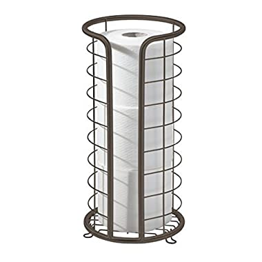 mDesign Free Standing Toilet Paper Holder Stand with Storage for 3 Rolls of Toilet Tissue - for Bathroom/Powder Room - Holds Mega Rolls - Durable Wire with a Bronze Finish