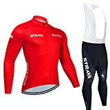 YouthRM Jersey de Ciclismo de Manga Larga con Forro Polar para Hombre, Camisa MTB, Ropa Acolchada de Motorista de Gel, Ropa de Secado Rápido,Red,Large