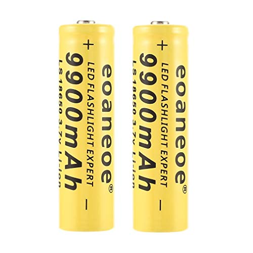 18650 Battery 3.7V 9900Mah Rechargeable Li-ion Battery High Capacity Button Top Batteries for Led Flashlight Torch and Headlamp etc. - Yellow (2PCS)