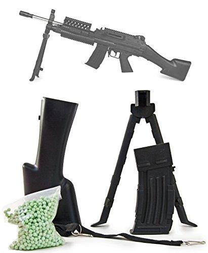 Nick and Ben Softair MK 48 Ersatzteile 5 Teile Set Munition, Magazin, Schulterstütze & Zweibein & Gurt