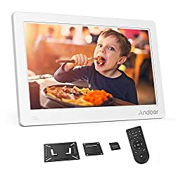 Andoer 15.6 Inch Digital Photo Picture Frame 1920x1080 IPS Screen Support Calendar/Clock/MP3/Photos/1080P Video Player with Standard Wall Mounting Bracket, 8GB Memory Card, Remote Control (White)