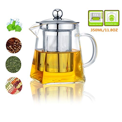 Glass Teapot with Infuser350ML/118OZ Borosilicate Glass Tea Pot with Tea Strainers for Loose Leaf Tea Microwavable and Stovetop Safe Square Shape