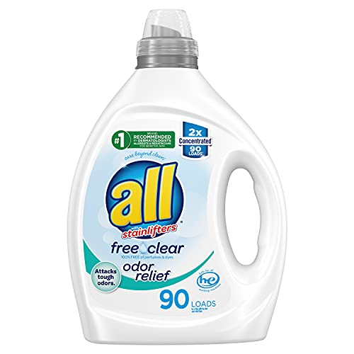 all All Liquid Laundry Detergent, Free Clear, Odor Relief, Hypoallergenic, 2X Concentrated, 90 Loads, 80.1, 80.1 Fl Ounce