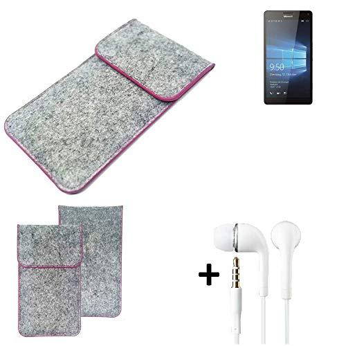 K-S-Trade Filz Schutz Hülle Für Microsoft Lumia 950 XL Dual SIM Schutzhülle Filztasche Pouch Tasche Hülle Sleeve Handyhülle Filzhülle Hellgrau Pinker Rand + Kopfhörer