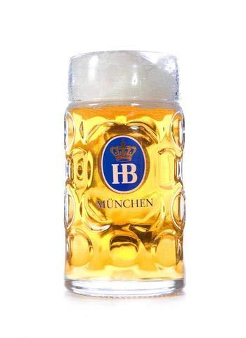 "1 Liter HB""Hofbrauhaus Munchen"" Dimpled Glass Beer Stein"