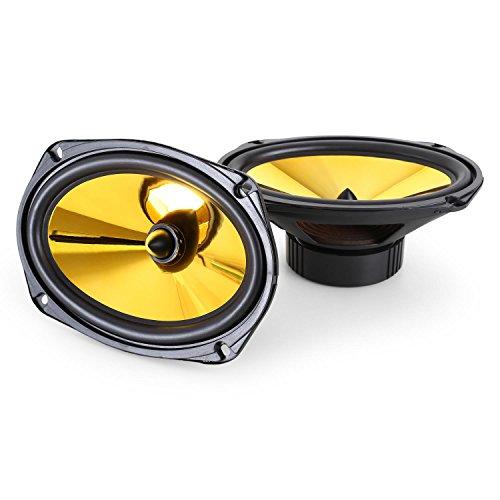auna Goldblaster 6x9-3-Wege-Koaxial-Boxen, Auto Lautsprecher, Einbau-Lautsprecher Paar, 2000 W max. Leistung, Zwei 15 x 23 cm-Boxen, Neodymium-Tweeter, ASV-Schwingspule, schwarz-Gold