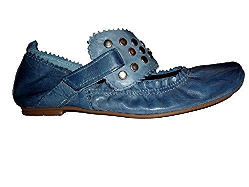 Spiral Damen Ballerina Leder mit Nieten 5451 Jeansblau