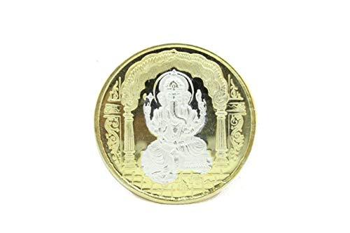 Rajasthan gems Religiöse 999 feine Silbermünze Gott Ganesha Om Gold Politur mit Box Geschenk
