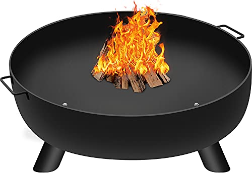 Amagabeli Fire Pit Outdoor Wood Burning Fire Bowl 28in with A Drain Hole Fireplace Extra Deep Large Round Cast Iron Outside Backyard Deck Camping Beach Heavy Duty Metal Grate Rustproof Black