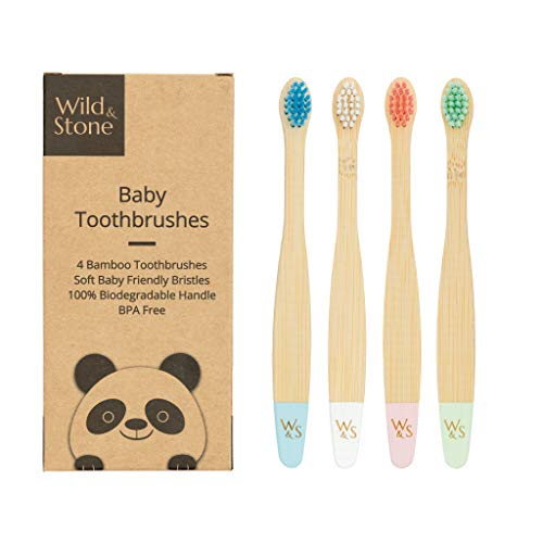 Wild & Stone | Cepillo de dientes de bambú orgánico para bebés | Cuatro colores | Cerdas de fibra | Mango 100% biodegradable | Cepillos de dientes veganos ecológicos para bebés