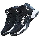 Zapatillas Altas de Baloncesto para Hombres Zapatillas de Deporte de Malla Transpirable con Cordones Zapatillas de Deporte Transpirables Ligeras Antideslizantes para Exteriores