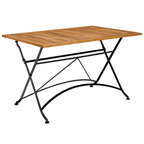 BUTLERS Parklife Gartentisch aus Holz 130x80x75 cm - Garten-Tisch klappbar aus FSC-Akazienholz und Metall - Holztisch für Garten oder Terrasse