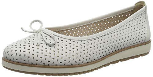 Tamaris Damen 1-1-22121-24 Geschlossene Ballerinas, Weiß (White Leather 117), 40 EU