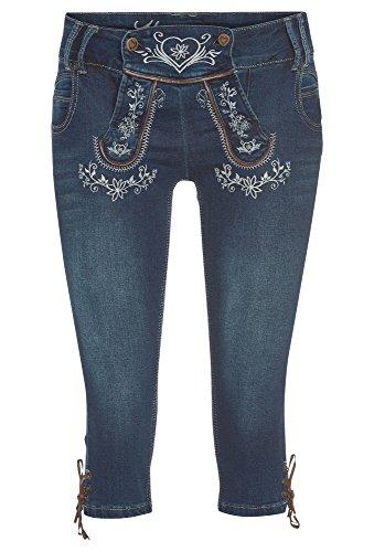 Hailys Damen Capri Jeans Caprihose Trachten Look Lederhose Oktoberfest Blue L