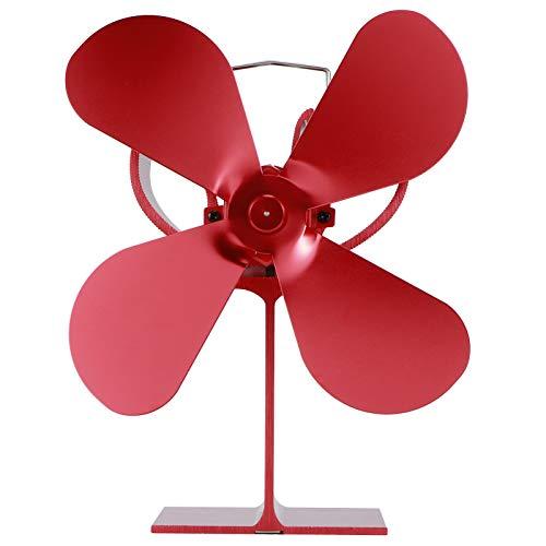 Ventilador de Estufa de Navidad, Ventilador de Chimenea de Inicio rápido de 40 ° c, Ventilador de Chimenea térmico con 4 aspas, para Quemador de Madera/leña/Chimenea