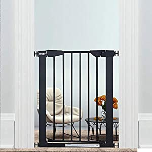WAOWAO Narrow Baby Gate Easy Walk Thru Pressure/Hardware Mount Auto Close Black Metal Child Dog Pet Safety Gates 29.13in Tall for Top of Stairs,Doorways,Kitchen and Living Room 2 (Black-22.83″-25.59″)