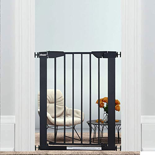 "WAOWAO Narrow Baby Gate Easy Walk Thru Pressure/Hardware Mount Auto Close Black Metal Child Dog Pet Safety Gates 29.13in Tall for Top of Stairs,Doorways,Kitchen and Living Room 2 (Black-22.83""-25.59"")"