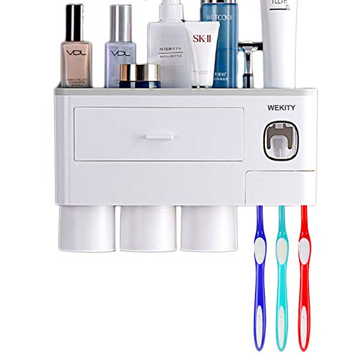 Wekity Multifunctional Wall-Mounted Toothbrush Holder, Automatic Toothpaste Dispenser Space Saving Toothbrush Organizer with Dustproof Cover, Cups and Drawers Cosmetic Organizer (3 Cups, Grey)