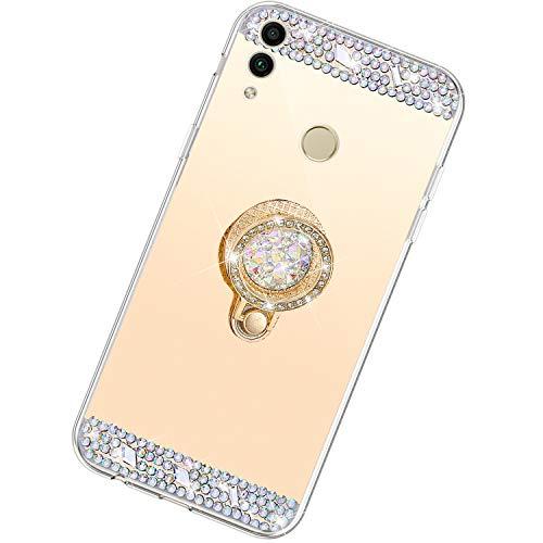 Funda Compatible con Huawei Honor 8X.Espejo Glitter Diamante Anillo Soporte Brillo TPU Transparente Silicona Suave Carcasa Cover Mirror Bling Moda Ultrafino Protective Bumper Case,Oro