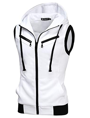 uxcell Men's Sleeveless Slim Fit Hoodie Vest Zipper Drawstring Gilet Jacket with Pockets White 34