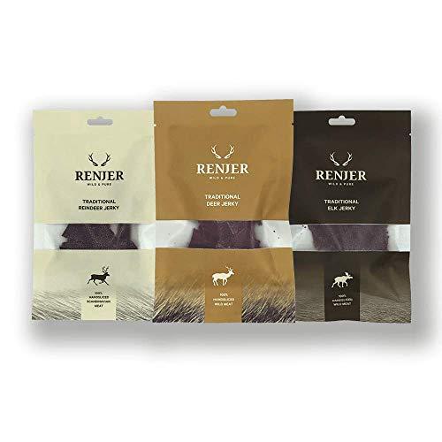 RENJER Probierset (Produktlinie 2018/19) - Reindeer Jerky, Elk Jerky, Deer Jerky - das schwedische Original - Nachhaltige Alternative zu Beef Jerky - proteinreich - fettarm - 0% Kohlenhydrate
