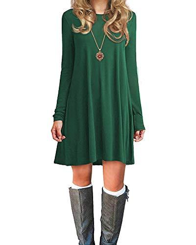 Durio Damen Einfaches Kleider Basic Casual A-Linie Skaterkleid Freizeit Kleider Fließendes Kleid Langarm Beiläufige Shirt Lose Rundhals Tunika Lawngreen EU 42(Tag L)