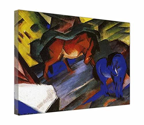 Cuadro en Lienzo Franz Marc Caballo rojo y azul Lienzos Decorativos xxl, Cuadros Decoracion Salon Con Marco, Decoracion de Pared (35x46cm 14 'x18', Enmarcado)