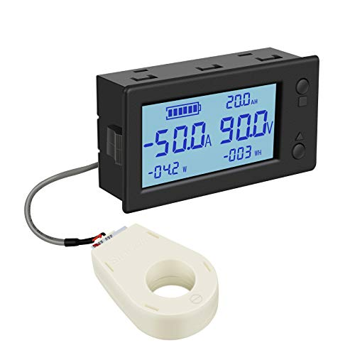 Voltage Amp Meter DC, DROK Battery Monitor DC 0-300V 200A, Ammeter Voltmeter for Solar System Setup Power Energy Capacity Volt Current Detector Panel with Hall Sensor
