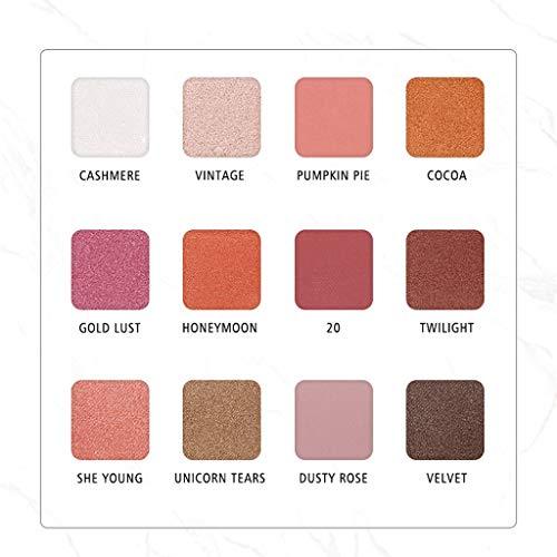 IMJONO Mode 12 Couleurs Marbre Luxe d'or Mat Nu Œil Ombre Palette Cosmétique Maquillage Ombre à paupières Disque(Multicolore)
