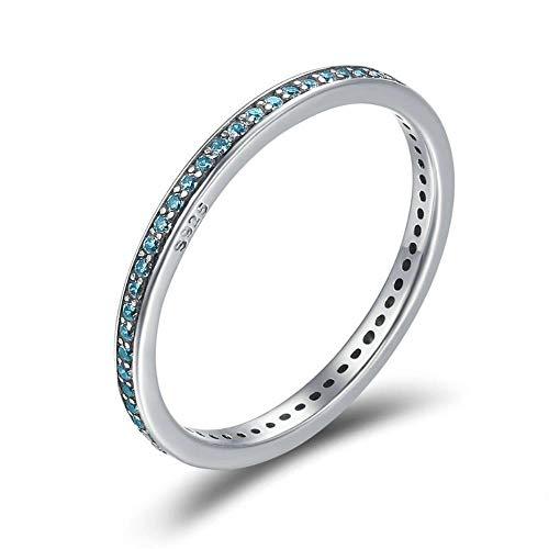 Eenvoudige blauwe glanzende sieraden CZ Sterling zevenkamp houder, 8