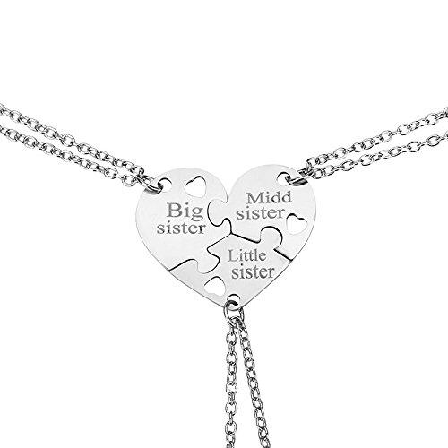 Elegant Rose Conjuntos de 3 Unidades de Acero Inoxidable Hermana Collares con patrón de corazón Regalo de Collar Creativo para Las niñas de los Amigos