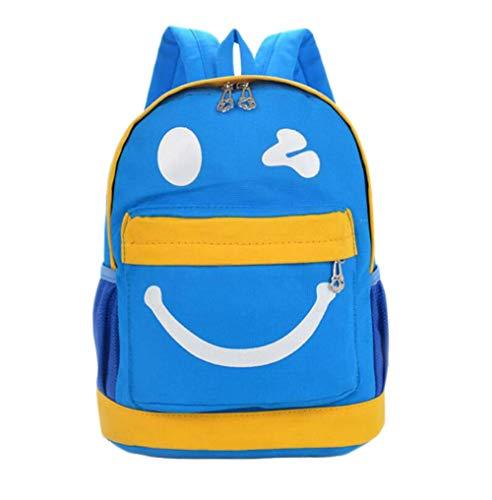 CyFe Kinder Cartoons Rucksack Smiley Rucksack für Kinder Einkaufen Reise,Segeltuch, Blau