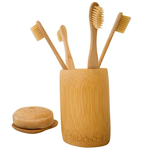 Bamboo Toothbrush, Holder, & Dish Set - 4 BPA Free Soft Bristle Toothbrushes, 1 Holding Cup, 1 Soap...