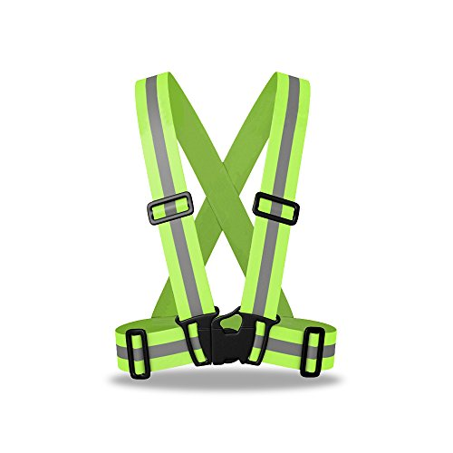 ZOJO Reflective Vest   Lightweight, Adjustable & Elastic   Safety & High Visibility for Running, Jogging, Walking,Cycling   Fits Outdoor Clothing (1 Pack, Neon Yellow)