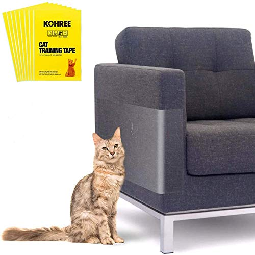 Kohree 8PCS Upgrade Anti Cat Scratch Tapes,XL Large (17' x 12') Cat Scratch Furniture Protector,Cat Couch Protector,Sticky Paws Tape for Cats,Clear Non-Toxic No Residue Cat Tape for Furniture